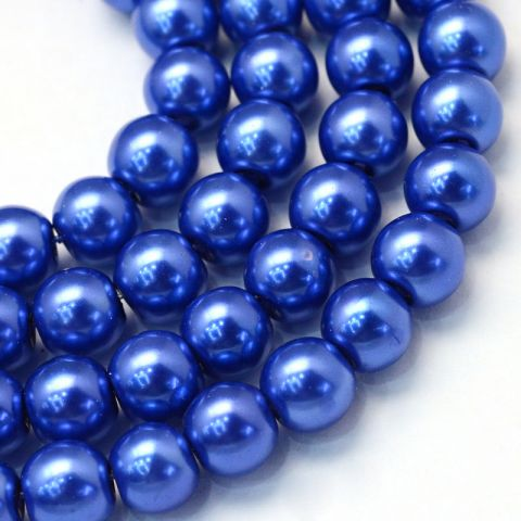 Perla Vidrio 6mm Royal Blue Redondo (Tira)