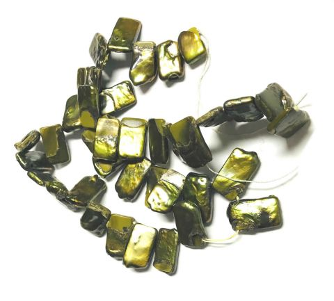 Perla Natural Blister Verde Oscuro 16x8mm (Tira)