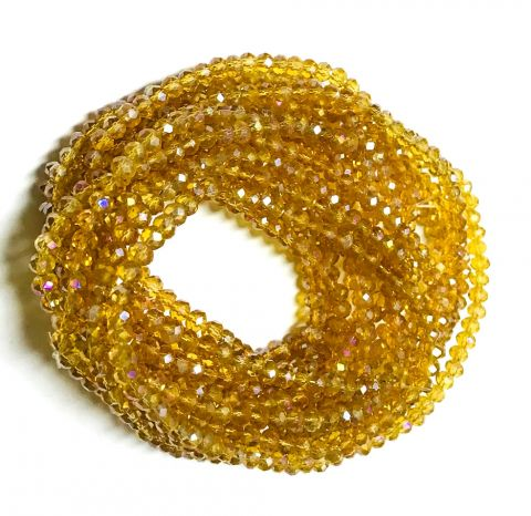 Cristal Checo Gold Rondelle 3x2mm Extra Largo (Tira)