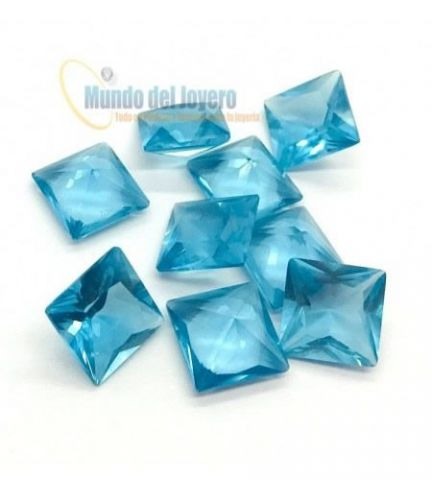12x10mm Agua Marina Glass Rectangular (Un)