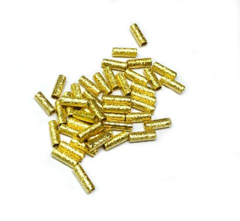 Mostacilla Gold Filled Tubo 8x3mm Redondo Satinada (10 Unidades)