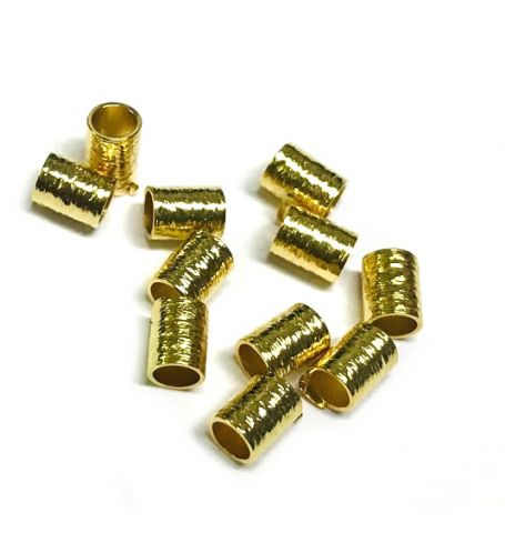 Mostacilla Gold Filled Tubo 5x3mm Redondo Satinada (10 Unidades)