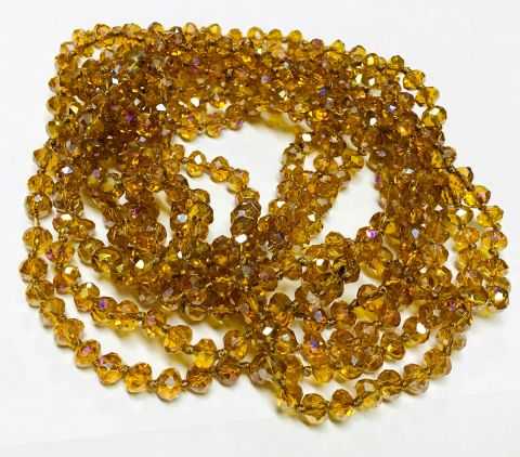 Cristal Checo Golden Rondelle 7x6mm Extra Largo (Tira)
