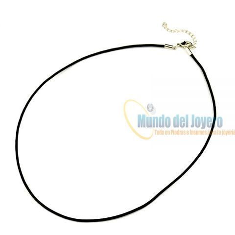 Collar Satín Negro 3mm Broche (Tira)