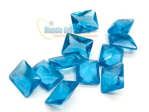 10x8mm Agua Marina Glass Rectangular (Un)