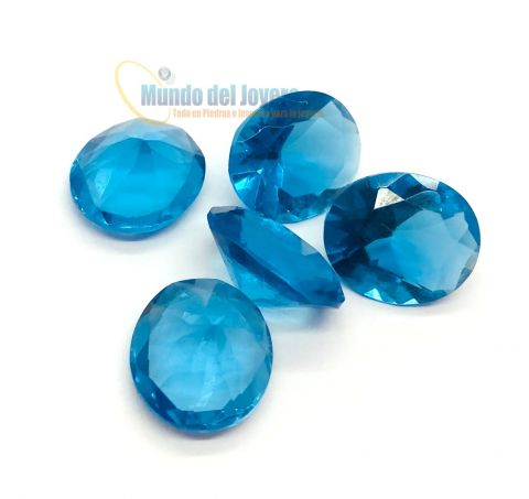 7x5mm Agua Marina Glass Oval (Un)