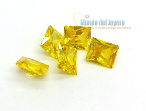 9x7mm Circón Topacio Gold Rectangular (Un)