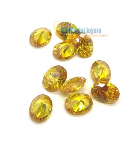 10x8mm Circón Topacio Gold Oval (Un)
