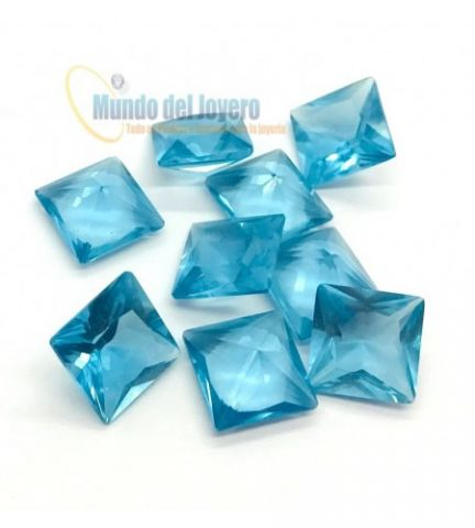 5x3mm Agua Marina Glass Rectangular (Un)