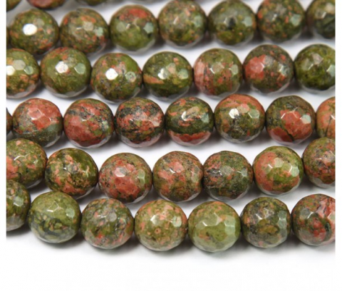 Unakite Natural Redondo Facetado 6mm (Tira)