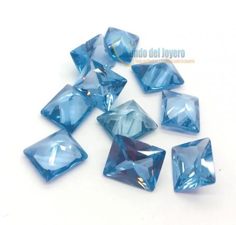 6x4mm Agua Marina Glass Rectangular (Un)